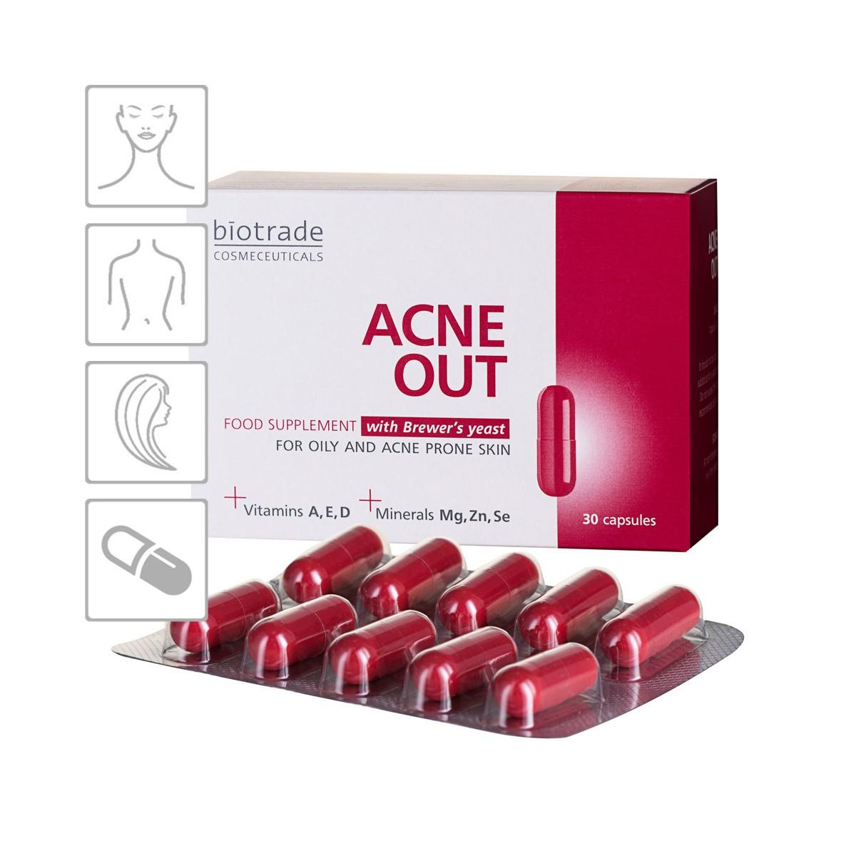 Acne Out Food Supplement Biotrade doplněk stravy s vitaminy a pivovarskými kvasnicemi