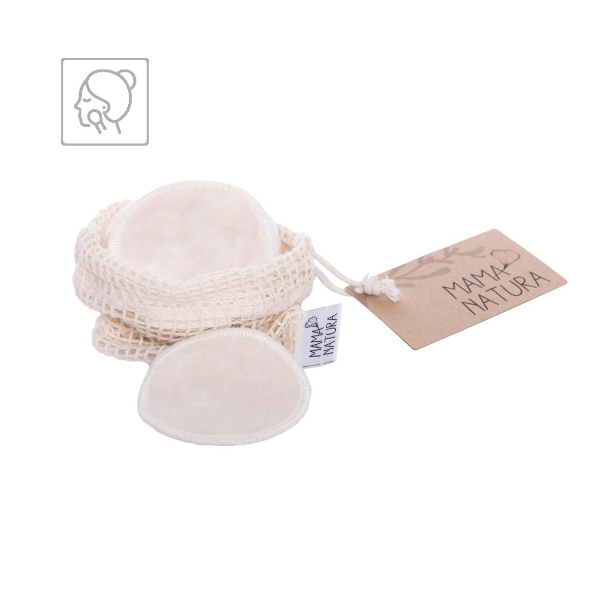 Kosmetický pratelný tampon Mama Natura z bio bavlněného sametu v síťovaném obalu – 7 cm malý (6 ks)